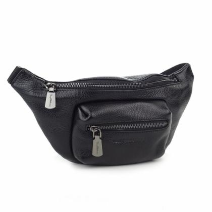 Дамска кожена чанта за кръст, Черна, 9978