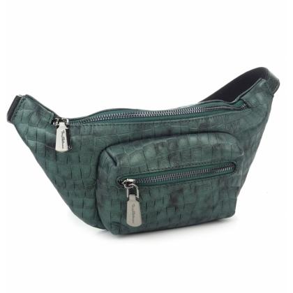 Зелена чантичка за кръст, тип паласка, Естествена кожа, 9978-3
