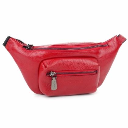 Червена чанта тип паласка, Естествена кожа, 9978-2