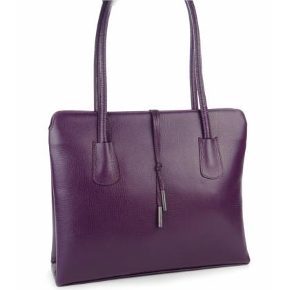 Лилава кожена чанта