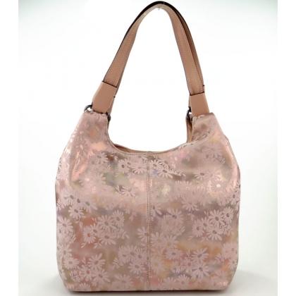 Чанта на цветя от естествена кожа
