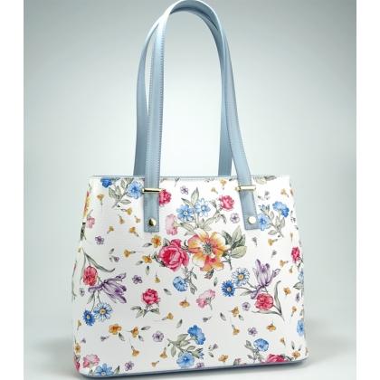 Дамска кожена чанта, бяла на цветя, 11543-10