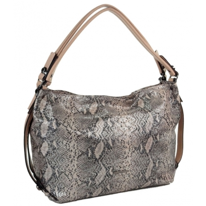 Дамска чанта от естествена кожа, змийски принт, T1923