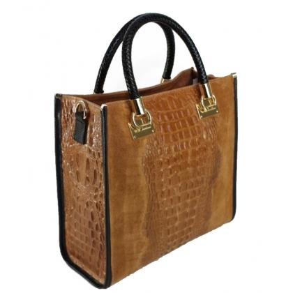 Дамска чанта от естествена кожа и велур с кроко щампа