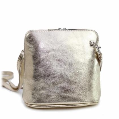 Малка златна чанта за през рамо, Естествена кожа, 1353-7