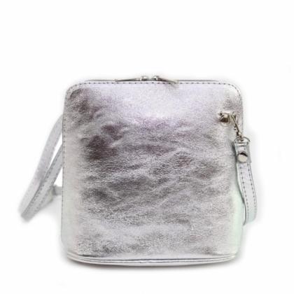 Сребриста малка чанта през рамо, Естествена кожа, 1353-8