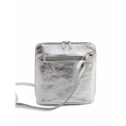 Сребърна кожена чанта