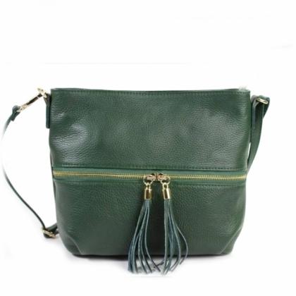 Дамска кожена чанта с пискюл, Тъмнозелена, Среден размер, 2393-5
