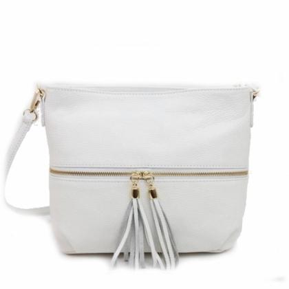 Бяла дамска чанта, Естествена кожа, С пискюл, 2393-6