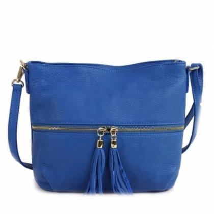 Малка дамска чанта с пискюл в Турскосиньо, 2393-7, Италия