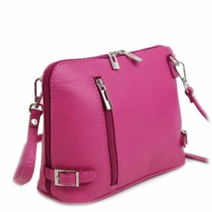 Дамска малка чанта с три отделения, Цвят Фукси, 11193-3
