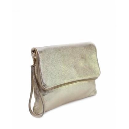 Златиста чанта с дълга дръжка