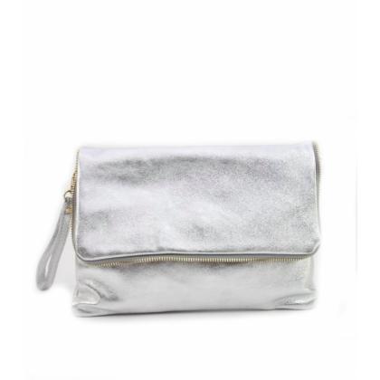 Сребриста дамска кожена чанта, Тип Плик, 1355-2