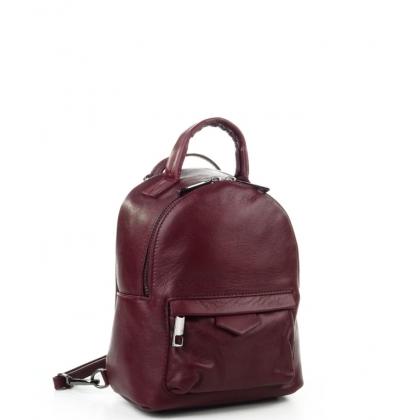 Малка чанта-раница от естествена кожа в цвят бордо 6622I-2