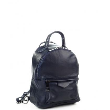 Малка кожена чанта-раница тъмносиня 6622I-1