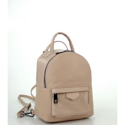 Малка кожена чанта-раница в цвят пудра 6622I-4