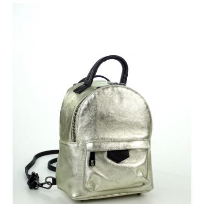 Малка кожена чанта-раница в цвят злато 6622I-5