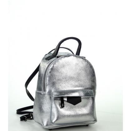 Кожена сребриста чанта-раница