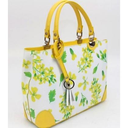 Дамска кожена чанта с флорални мотиви в цветя/лимон, 188883-4