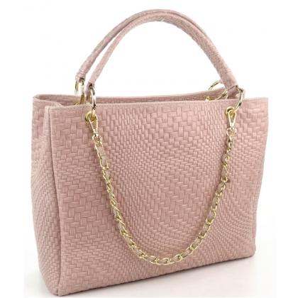 Дамска чанта от естествена кожа в светлорозово, 1050