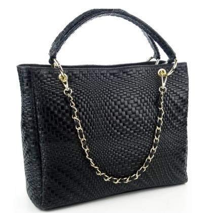 Дамска чанта от естествена кожа в черно, 1050-1