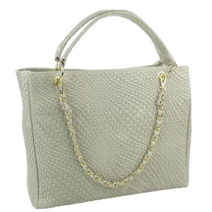 Дамска чанта от естествена кожа в цвят ванилия, 1050-2