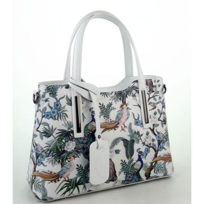 Дамска чанта от естествена кожа  в цвят бяла/пауни 11111-4