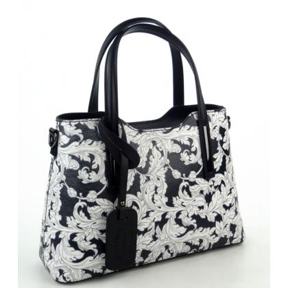 Дамска чанта от естествена кожена чанта в черно/цветя, 11111-5
