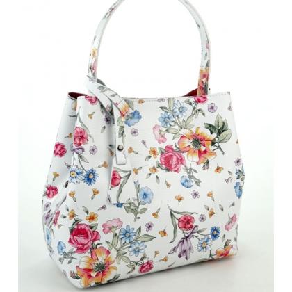 Дамска кожена чанта в бял цвят на цветя, 1631