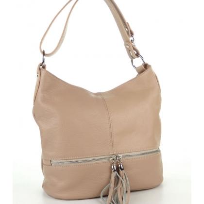 Чанта от естествена кожа в цвят пудра 1218