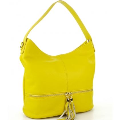 Жълта чанта от естествена кожа, Италия