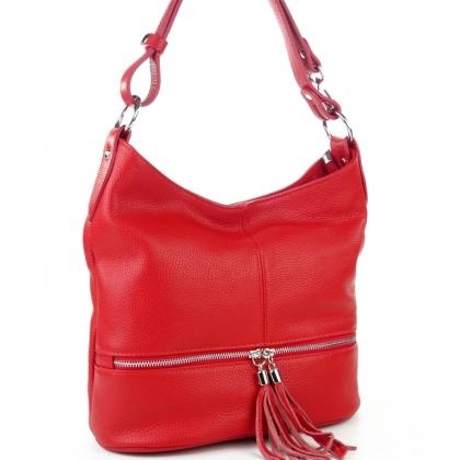 Червена чанта от естествена кожа с пискюл 1218-2