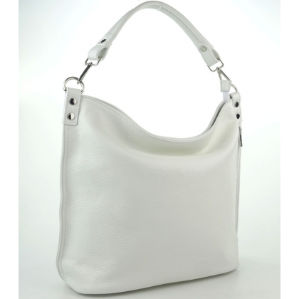 Мека дамска чанта тип торба в бяло, 11933-3