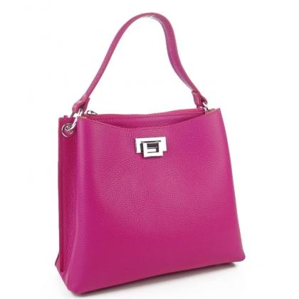 Кожена чанта в цвят фуксия
