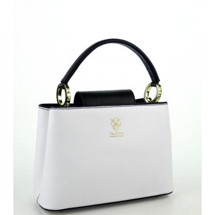 Кожена дамска чанта в бял цвят с черни дръжки, 1031-4