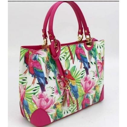 Дамска кожена чанта в фуксия/ папагали 188883