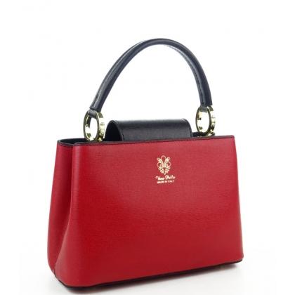 Кожена дамска чанта в два цвята, 1031-4