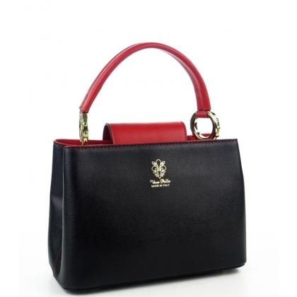 Кожена дамска чанта в черно и червено, 1031-1
