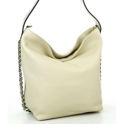 Стилна кожена чанта тип торба в бежово L1220