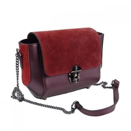 Малка дамска чанта за през рамо от естествена кожа и естествен велур 6602