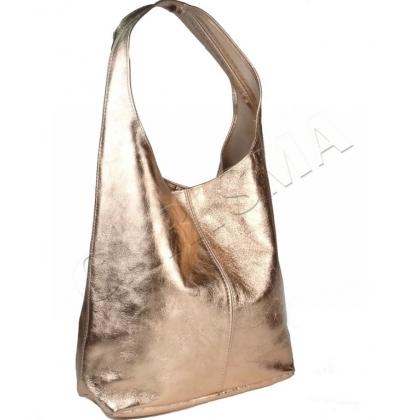 Чанта тип торба в бронзов цвят