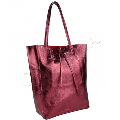 Модерна чанта тип торба от естествена кожа, Бордо 1666