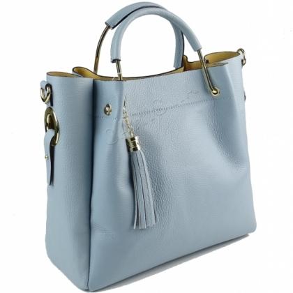 Ефектна дамска чанта две в едно от естествена кожа 11533