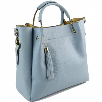 Ефектна дамска чанта две в едно от естествена кожа 1153L