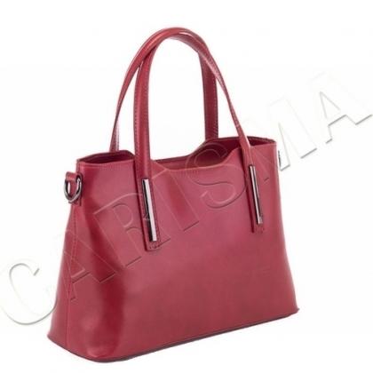 Дамска чанта от естествена кожа, тъмно червено, 11111- 1L