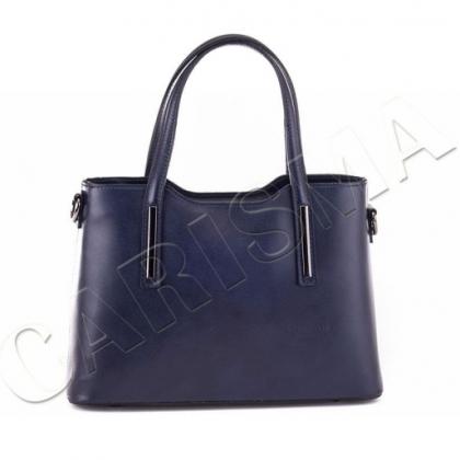 Дамска чанта от естествена кожа, Тъмносиня, 11111 - 2L