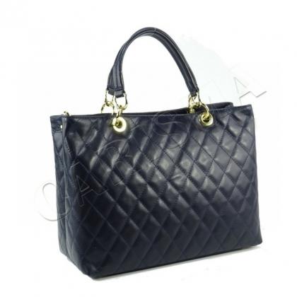 Тъмносиня чанта с капитониран дизайн, Индиго 2355-3
