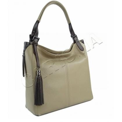Кожена дамска чанта в цвят каки