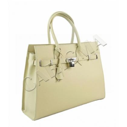 Дамска кожена чанта с декоративен катинар 3521-4