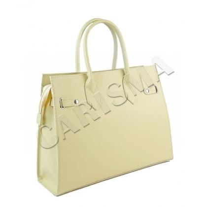 Бежова дамска чанта от естествена кожа
